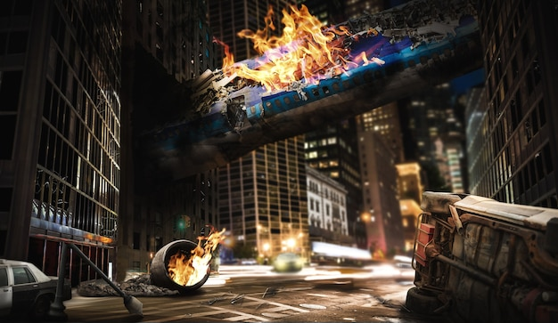 Air crash concept. burning fuselage of the aircraft crashed into a building, exploded engine on the road, city destruction