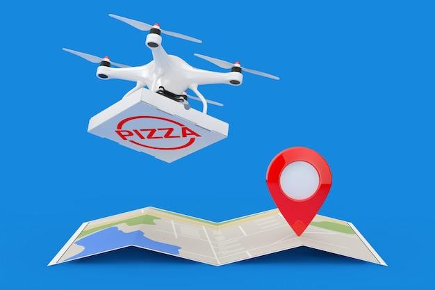 Воздушный дрон доставляет пиццу boxover сложенная абстрактная навигационная карта с указателем карты narget pin на синем фоне 3d-рендеринга