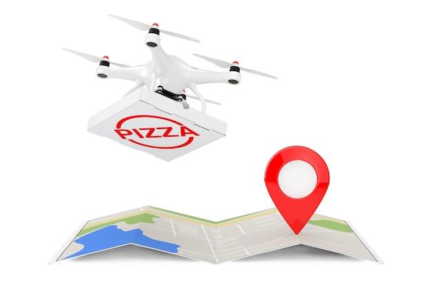Воздушный дрон, доставляющий пиццу в коробке, сложенная абстрактная навигационная карта с указателем карты, кнопка narget на белом фоне, 3d-рендеринг