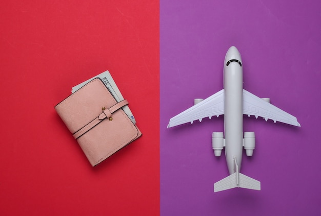 Air flight, travel concept. toy plane, wallet with money on a red-purple