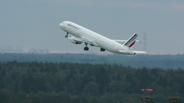 Air france plane airbus a ascending in the sky