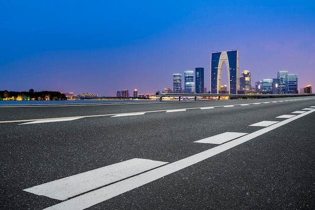 Air highway asphalt road and commercial building of modern urban buildings in suzhou