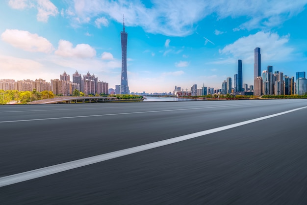 Air highway asphalt road and office building of commercial building, guangzhou modern architecture