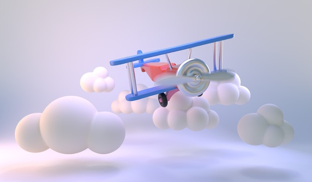 Air plane toy fly on white room background. minimal cloud shapes. light blue pastel background for products promotion. minimal idea  . 3d render.