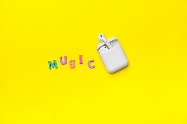Air pods pro with charging case on yellow background.