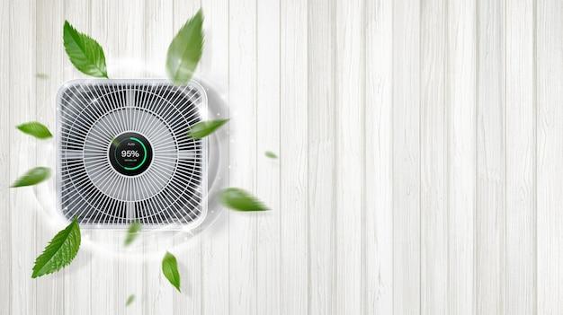 거실 공기청정기, 집안의 미세먼지를 제거하는 공기청정기. pm 2.5 먼지 및 대기 오염 개념 보호