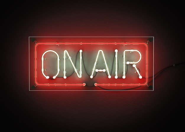 On air sign made from neon alphabet on a black background 3d rendering