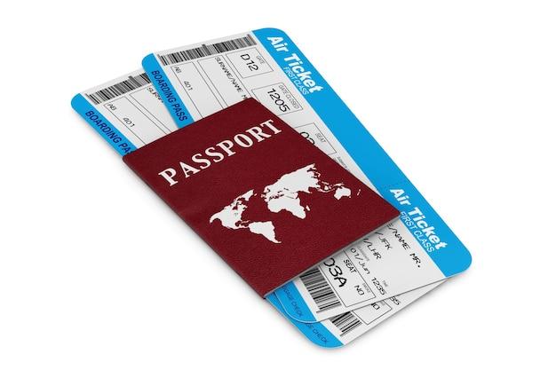空の旅のコンセプト。白い背景にパスポート付きの航空券