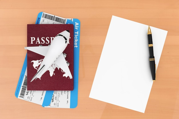 항공 여행 개념입니다. 비행기, 여권, 티켓, 빈 종이 및 펜 나무 테이블에. 3d 렌더링.