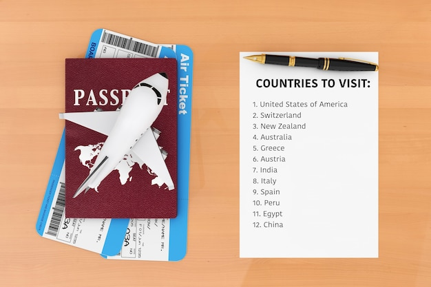Air travel concept. airplane, passport, tickets, pen and paper with countries to visit list on a wooden table. 3d rendering.