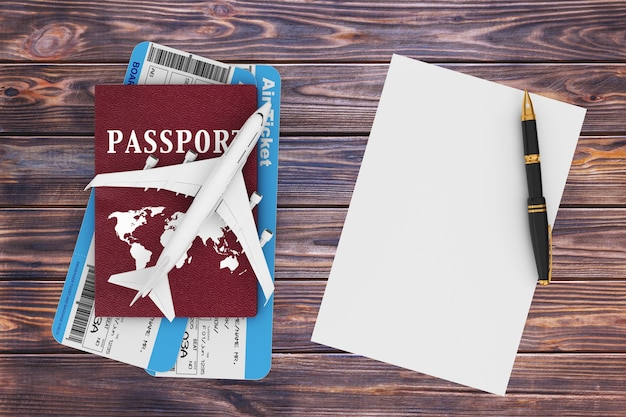 Air travel concept. jet passenger's airplane, passport, tickets, blank paper and pen on a wooden table. 3d rendering.