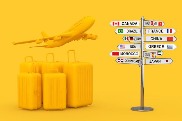 항공 여행 개념입니다. 노란색 배경 3d 렌더링에 다양한 국가 이름과 깃발이 있는 표지판 근처에 노란색 제트기 승객의 비행기가 있는 대형 노란색 폴리카보네이트 가방