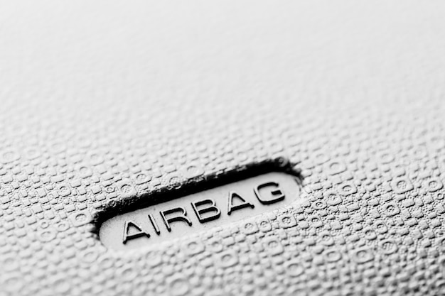 Airbag sign of safety in modern car
