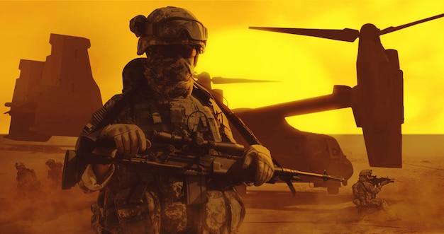 空挺兵士の砂漠
