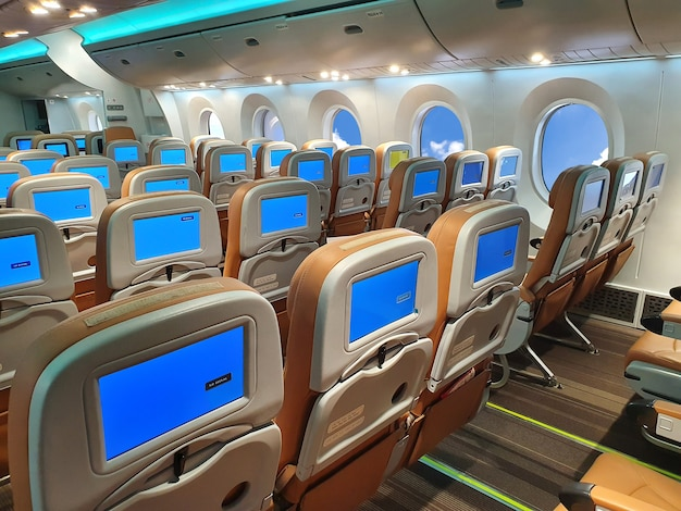 Aircraft chair by line inside the plane