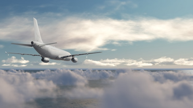 Aircraft over cloud blue sky