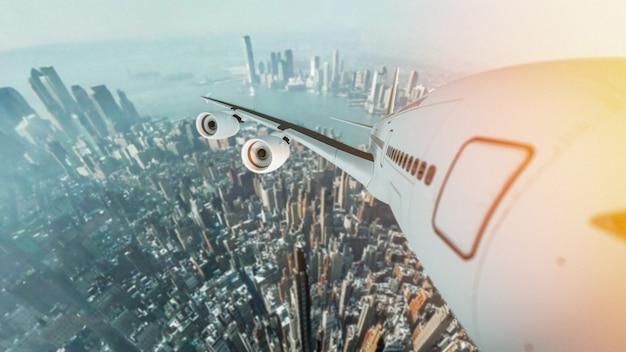 도시 지역에서 비행 하는 항공기.