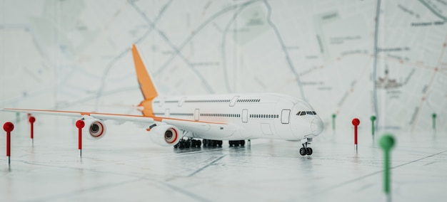 Aircraft and location marking with a pin on routes on world map. adventure, discovery, communication, logistics, transport and travel theme concept background. 3d renderin and illusrration.
