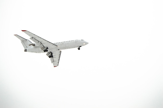 Aircraft with landing gear isolated on white background