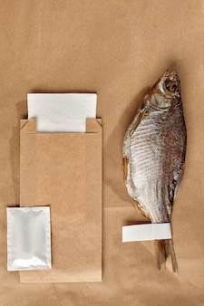 Airdried roach on kraft paper with packaging bag wet wipe and paper napkin