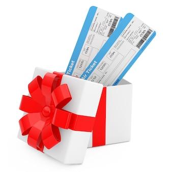 항공사 탑승권 티켓은 흰색 바탕에 빨간 리본이 달린 선물 상자에서 나옵니다. 3d 렌더링