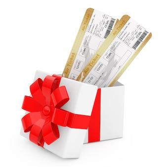 白い背景に赤いリボンと弓が付いたギフトボックスの航空会社の搭乗券チケット。 3dレンダリング