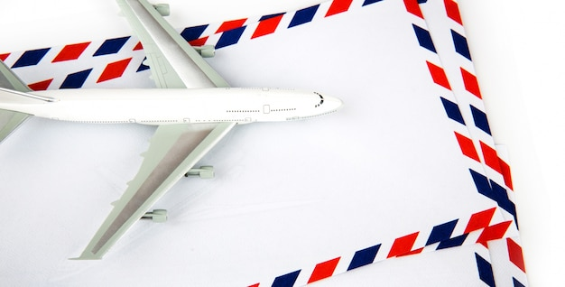 Airmail envelope with model airplane