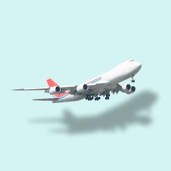 Самолет и отражение на пастельных зеленых backgroun