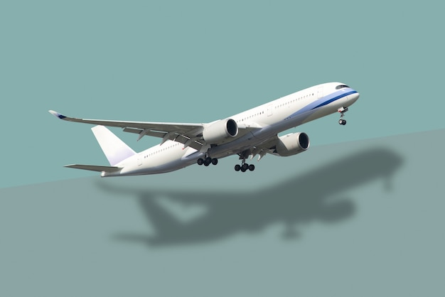 Самолет и отражение на пастельном зеленом фоне