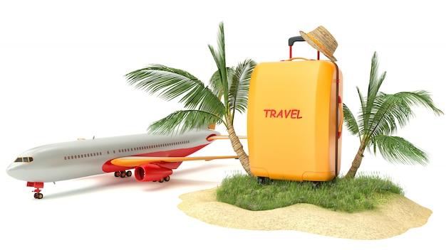 飛行機と熱帯の島。夏の旅行のコンセプト