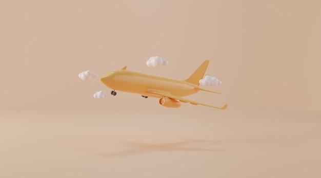 Airplane on beige  background.