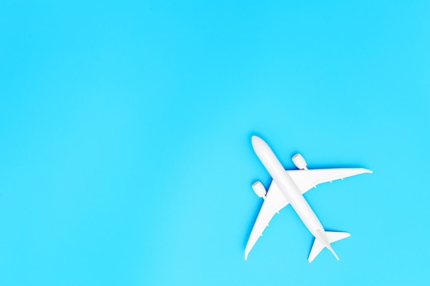 Airplane on blue pastel color background