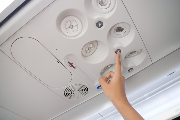 Airplane cabin interior useful botton