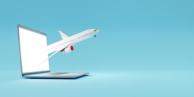 Самолет выходит из ноутбука с синим