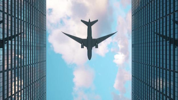 飛行機は高層ビルの頂上に飛ぶ。高層ビルや飛行機を見上げてください。 3dレンダリング。