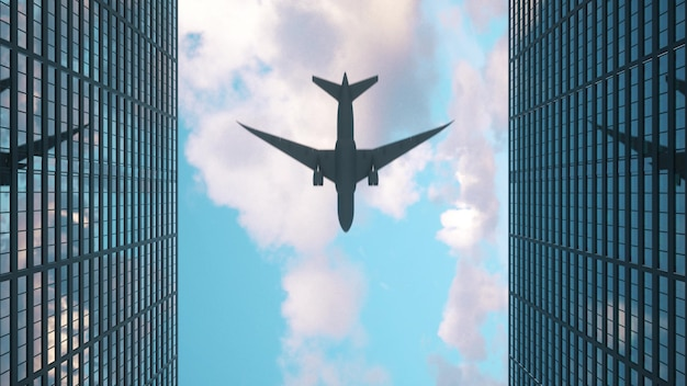 Airplane flies to the tops of the skyscrapers. look up view at skyscrapers and flying plane. 3d rendering.