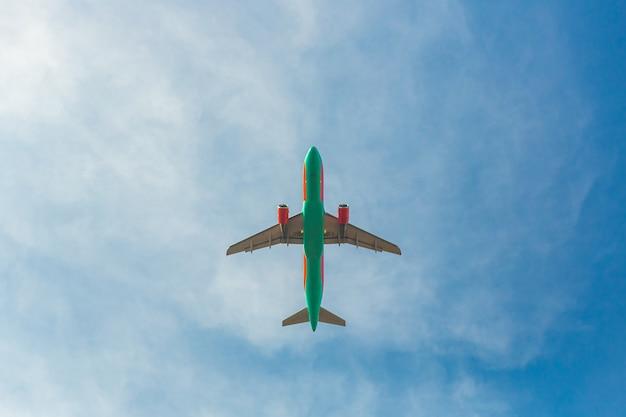 Airplane in flight on of blue sky
