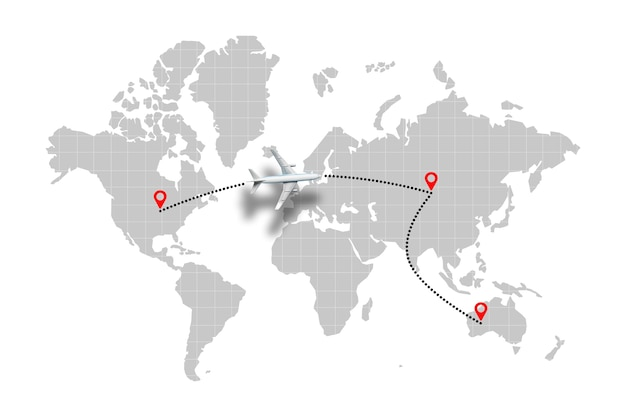 Airplane flight path concept on world map with points.