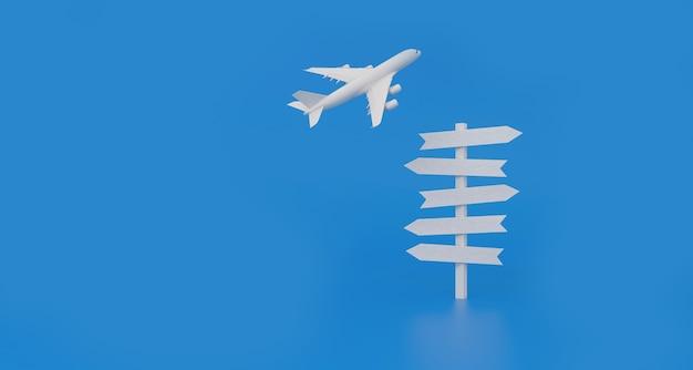 Самолет летит и вывески на белом перекрестке, указывающие разные направления на синем фоне. концепция отпуска. 3d-рендеринг.