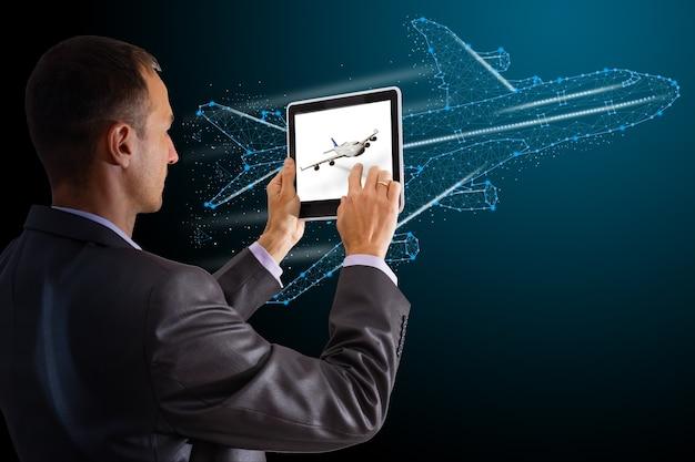 Анализ экрана виртуальной реальности самолета. полет вверх по туристическому путешествию в виртуальной реальности. транспортные технологии баннер шаблон 3d самолет планшет