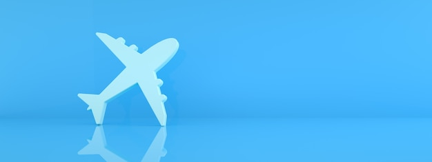 Airplane icon over blue background, travel concept, 3d rendering, panoramic mockup