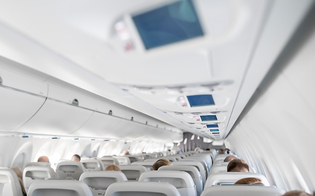 Airplane inside, from back chair. high quality photo