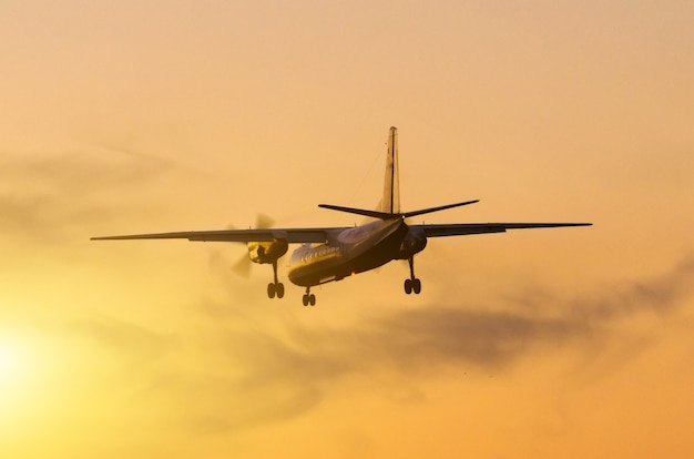 Airplane landing against the backdrop of the sunset sun.