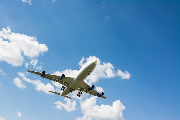 Airplane landing. clouds and blue sky background, with copy space