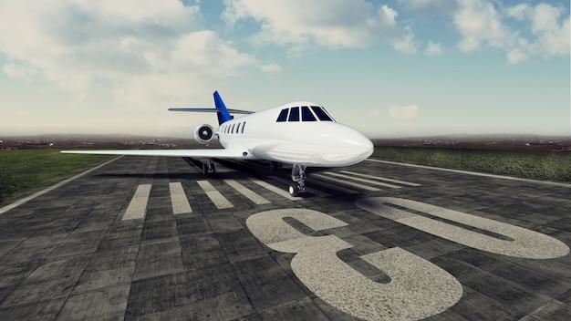 Самолет приземляется в аэропорту