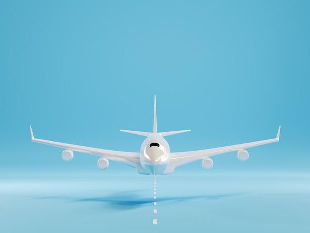 Самолет приземляется или взлетает над землей на взлетно-посадочной полосе аэропорта 3d-рендеринга