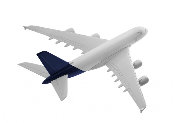 Airplane model with blue color on tail isolated on white background