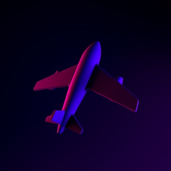 Airplane neon icon. 3d rendering ui ux interface element. dark glowing symbol.
