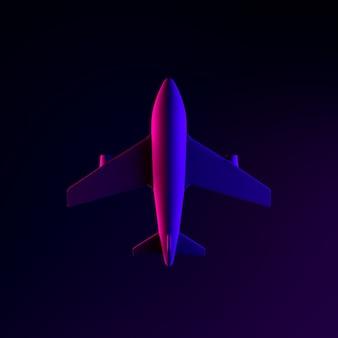 비행기 네온 아이콘입니다. 3d 렌더링 ui ux 인터페이스 요소입니다. 어두운 빛나는 기호.