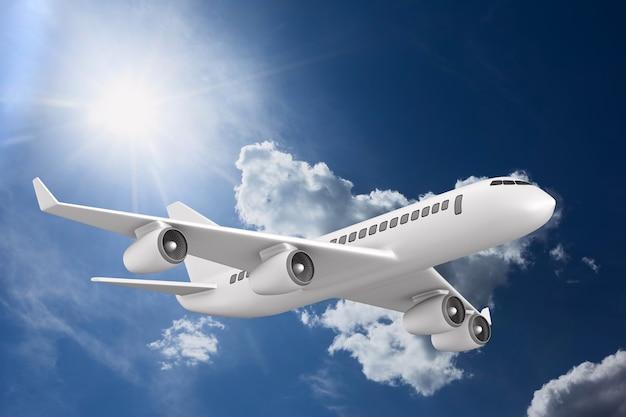 空の背景に飛行機。 3dイラスト